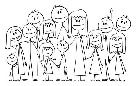 Portrait of Big Happy Family with Eleven Children, Vector Cartoon Stick Figure Illustration