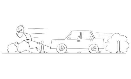 Man Running on Road and Pulling Broken Car, Vector Cartoon Stick Figure Illustration Illustration