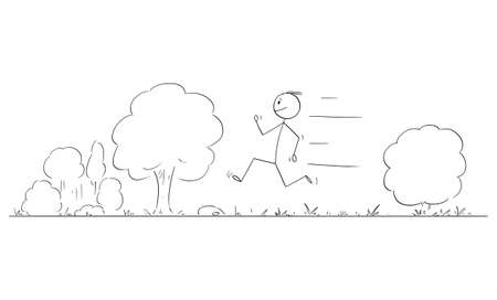 Person or Man Running on Road in Nature, Vector Cartoon Stick Figure Illustration
