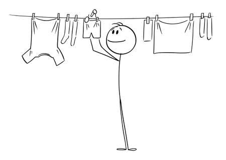 Person or Man Hanging Clean Clothes on Line Using Pegs , Vector Cartoon Stick Figure Illustration Illustration
