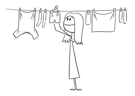 Person or Woman Hanging Clean Clothes on Line Using Pegs , Vector Cartoon Stick Figure Illustration Illustration