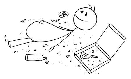 Overeaten Man or Person, Lying on Ground With Crumbs Around, Vector Cartoon Stick Figure Illustration