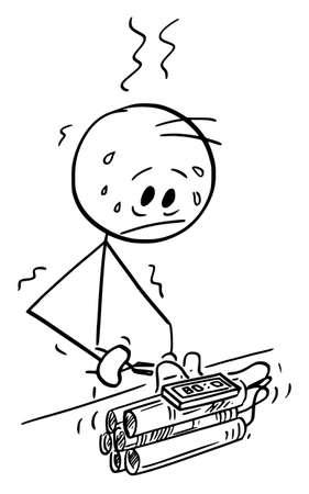 Stressed Bomb Disposal Expert Defusing Time Bomb, Vector Cartoon Stick Figure Illustration Illustration