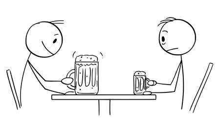 Frustrated Person Drinking Small Beer Is Watching Big Drink of Another Customer, Vector Cartoon Stick Figure Illustration Illustration