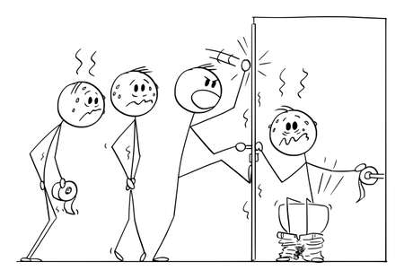 Man Sitting on Public Toilet Bowl for Long Time, Line of People is Wating, Vector Cartoon Stick Figure Illustration Illustration