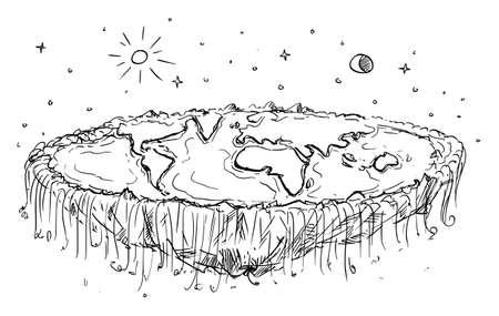 Flat Planet Earth Conspiracy, Vector Cartoon Illustration