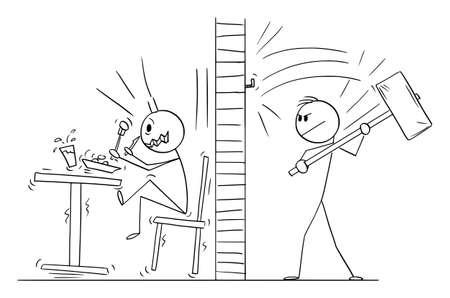 Neighbor Person Nailing Hook Nail by Big Hammer , Vector Cartoon Stick Figure Illustration