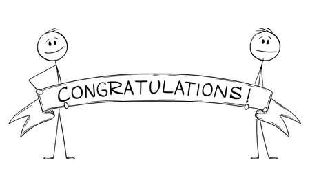 Two Persons Holding Big Congratulations Ribbon Sign, Vector Cartoon Stick Figure Illustration