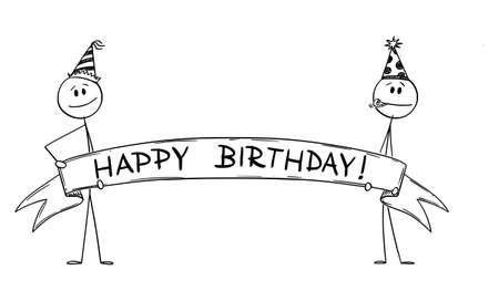 Two Persons Holding Big Happy Birthday Ribbon Sign, Vector Cartoon Stick Figure Illustration 矢量图像