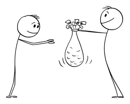 Person Giving Money Gift or Charity Donation to Poor Man, Vector Cartoon Stick Figure Illustration 矢量图像