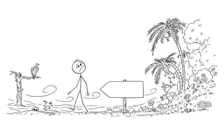Person Leaving Paradise and Entering Desert, Vector Cartoon Stick Figure Illustration