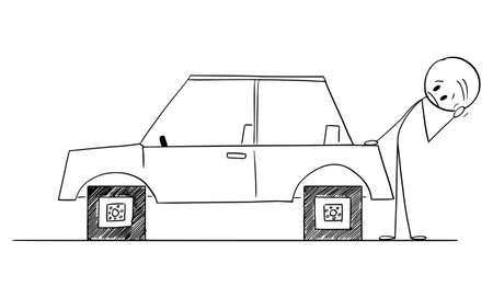Driver Looking at Car With Square Wheels, Problem, Disadvantage or Weakness of Technology, Vector Cartoon Stick Figure Illustration
