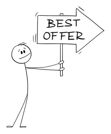 Person or Businessman Holding Best Offer Arrow Sign and Pointing at Something, Vector Cartoon Stick Figure Illustration 矢量图像