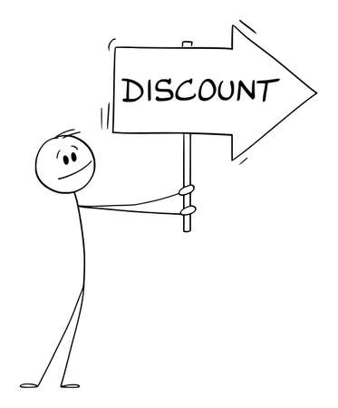 Person or Businessman Holding Discount Arrow Sign and Pointing at Something, Vector Cartoon Stick Figure Illustration