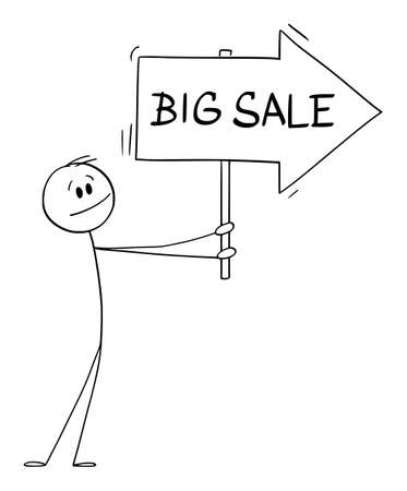 Person or Businessman Holding Big Sale Arrow Sign and Pointing at Something, Vector Cartoon Stick Figure Illustration