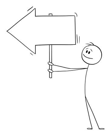 Person or Businessman Holding Empty Arrow Sign and Pointing at Something, Vector Cartoon Stick Figure Illustration Ilustración de vector