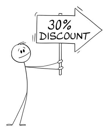 Person or Businessman Holding 30 or Thirty Percent Discount Arrow Sign and Pointing at Something, Vector Cartoon Stick Figure Illustration
