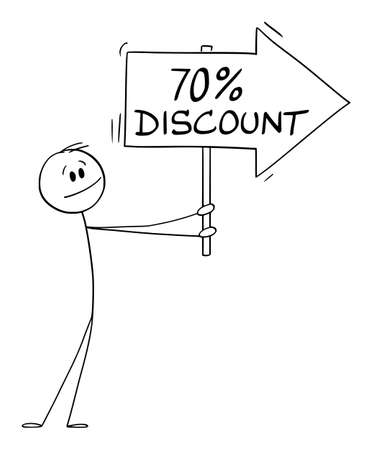 Person or Businessman Holding 70 or Seventy Percent Discount Arrow Sign and Pointing at Something, Vector Cartoon Stick Figure Illustration