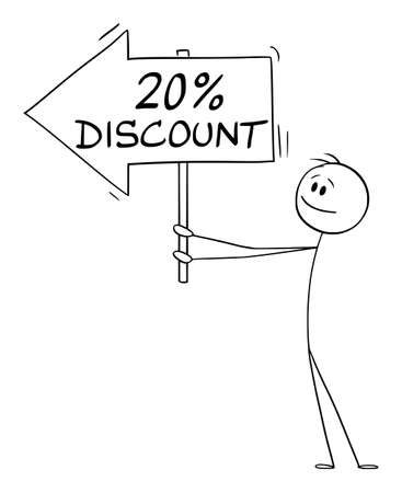 Businessman or person holding 20 or twenty percent discount arrow sign and pointing at something or some goods, vector cartoon stick figure or character illustration.
