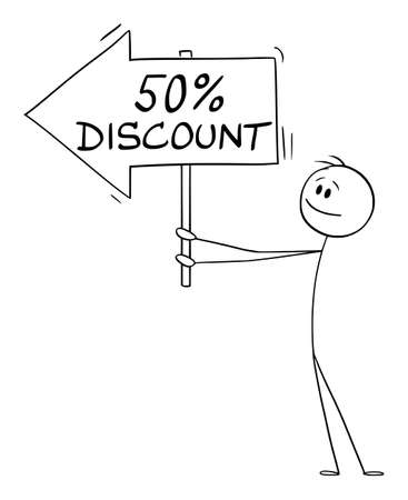 Person or Businessman Holding 50 or Fifty Percent Discount Arrow Sign and Pointing at Something, Vector Cartoon Stick Figure Illustration