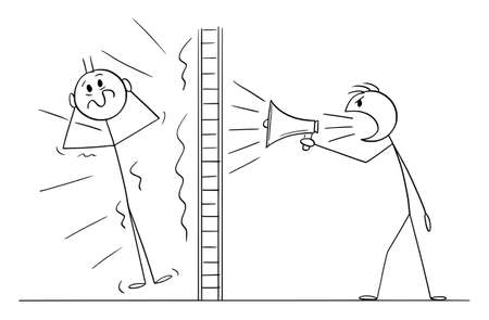 Person or Neighbor Doing Loud Noise Using Megaphone Behind Wall, Vector Cartoon Stick Figure Illustration