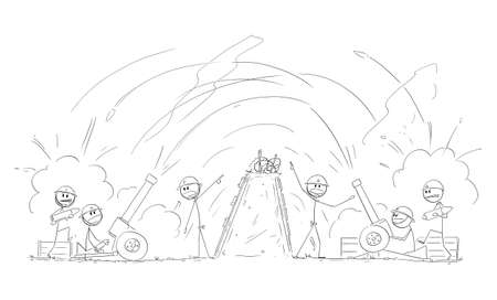 Soldiers in War Shooting Artillery to Others From Trench, Vector Cartoon Stick Figure Illustration