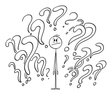 Person Surrounded by Question Marks or Symbols, Unsure Looking for Answer, Vector Cartoon Stick Figure Illustration