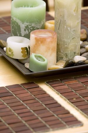 beautiful candles decoration with rocks on the table Stock Photo - 580906