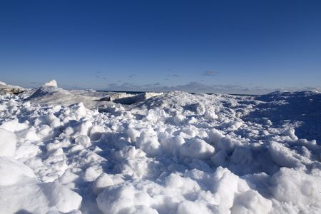 icescape: beautiful winter nature scene, snow and ice around ocean