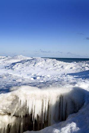beautiful winter nature scene, snow and ice around ocean photo