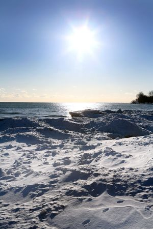 beautiful winter nature scene, snow and ice around ocean, sun Stock Photo - 769837