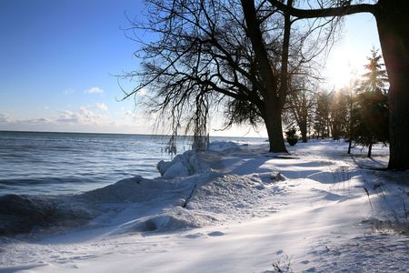 beautiful winter nature scene, snow and ice around ocean, sun Stock Photo - 769833
