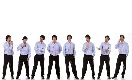 business man standing with diferrent expressions on white background Stock Photo