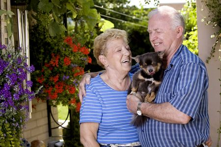 a year older: happy grand parents holding little chihuahua in the summer