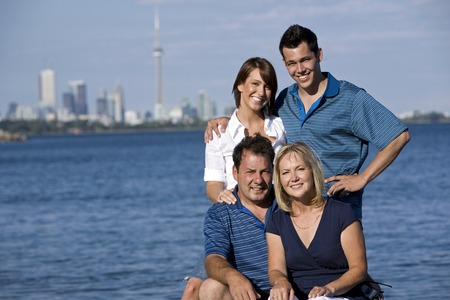 family of four with two generations in the summer Stock Photo - 1497797