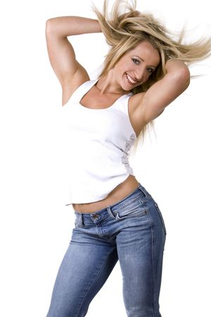 blond fitness woman wearing blue jeans and white tshirt