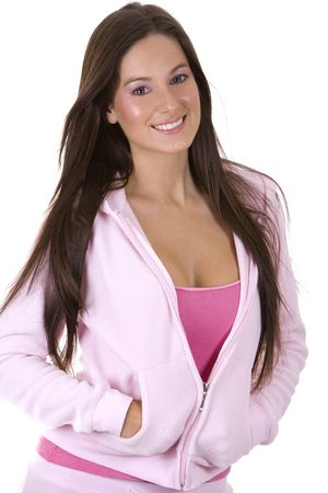 beatufil model wearing casual pink outfit with jacket Stock Photo