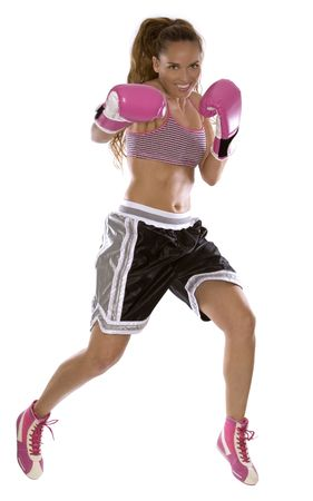 active woman female boxer jumping high on white background