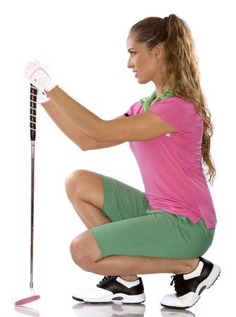 chica: pretty golf woman posing on white isolated background