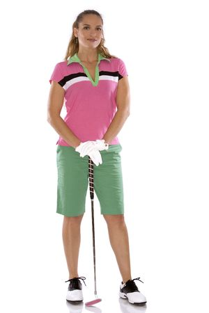 pretty golf woman posing on white isolated background photo