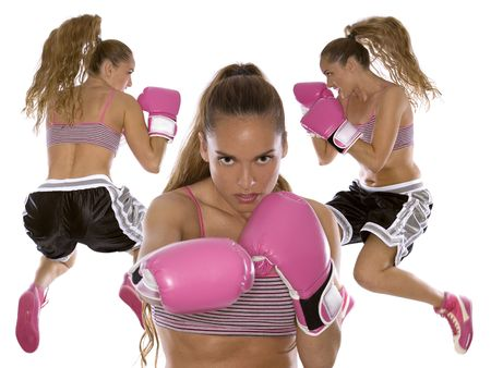 active woman female boxer jumping high on white background photo