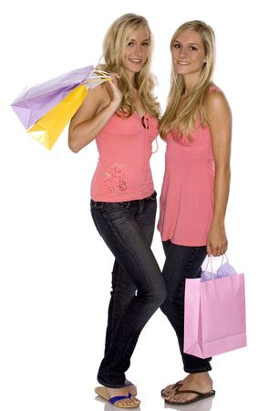 sisters holding shopping bags on white isolated background Stock Photo - 3187711