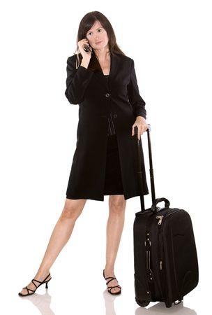 donna d'affari pi� anziani con i bagagli su sfondo bianco Archivio Fotografico