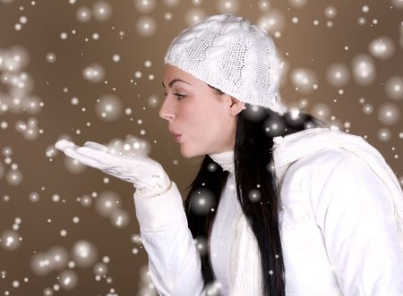 pretty brunette wearing a white jacket and hat Stock Photo - 3829342
