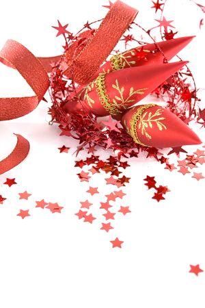 beautiful red seasonal Christmas decorations on white background photo