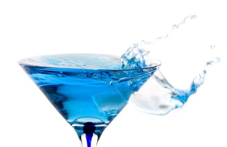 beautiful glass filled with blue water on white Stock Photo