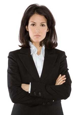 secretaria sexy: mujer de negocios usando traje oscuro sobre fondo blanco