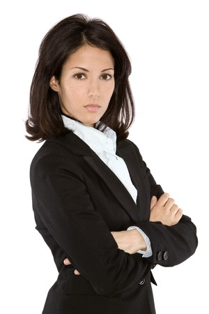 business woman wearing dark suit on white background 版權商用圖片