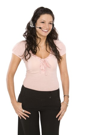 pretty woman using headset on white isolated background photo