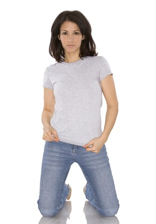 pretty brunette woman wearing casual outfit on white Stock Photo